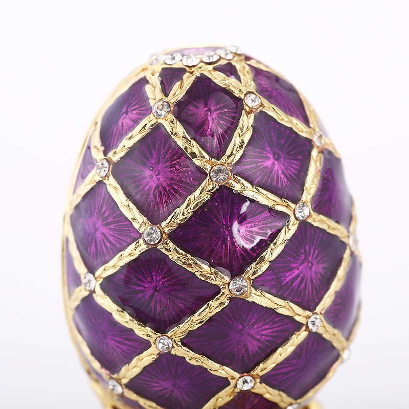 Free Shipping russian faberge purple egg Jewelry Painted Box on Stand set with enamel and Crystals for home decoraction in Figurines Miniatures from Home Garden