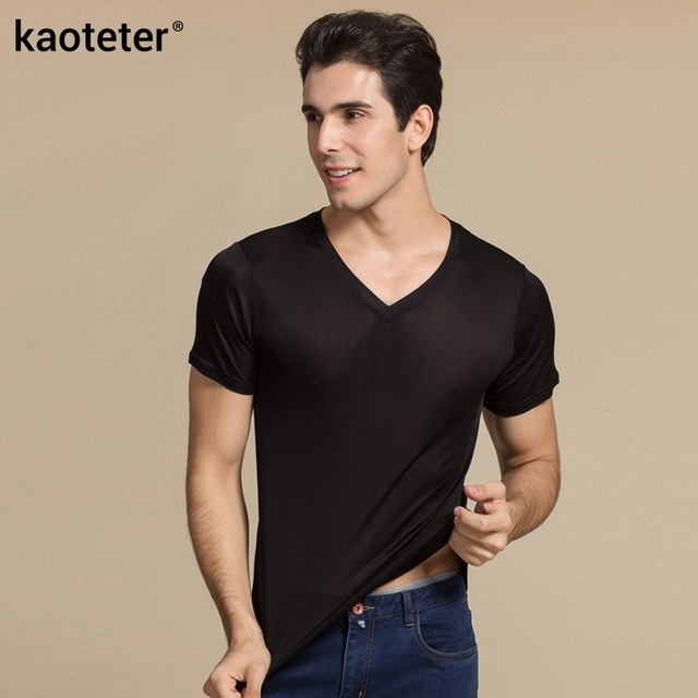 e44745454c5ce2 100% Real Silk Man s T-shirts Short Sleeve V Neck Man Wild Black White  Solid Color Male Bottoming Tee Sweater Shirts Tops
