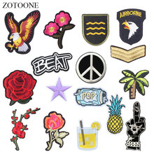 ZOTOONE Eagle Flower Patches Letter Stickers Diy Iron on Clothes Heat Transfer Applique Embroidered Applications Cloth Fabric G