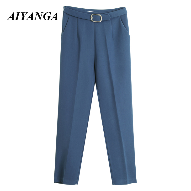 Office Harem   Pants   Women Casual High Waist Female Trousers 2019 Summer Korean Style Ladies Elegant Ankle Length   Pant     Capri