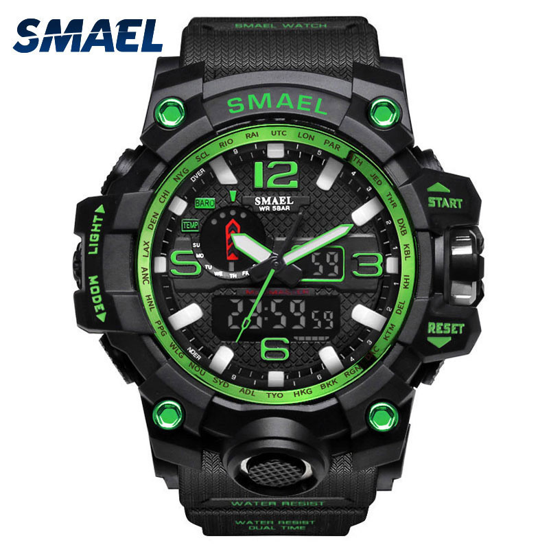 Women Watches Top Brand Luxury SMAEL Relogio Feminino Men Sport Watch Dual Display Analog Digital LED Electronic Wrist Watches