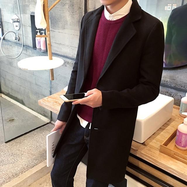 TG6107 Cheap wholesale 2017 new Paragraph dust coat grows in the men's plus-size woollen overcoat woolen cloth coat