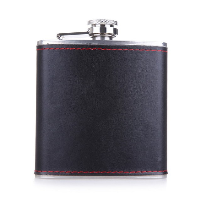 6oz Stainless steel + PU Leather Hip Flask Faux Leather Wrapped Flagon Wine Pot Keep Warm 9.3 x 2 x 10.5cm