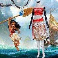 Cosplaydiy Moana vaian Costume Moana Waialiki Adult Women Cosplay Princess Dress For Halloween With Neck Lace Custom Made