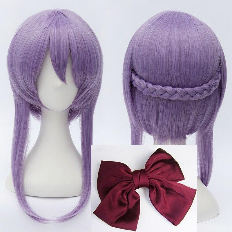 Seraph do fim hiiragi shinoa perucas luz roxa resistente ao calor do cabelo sintético perucas peruca cosplay + touca peruca bowknot hairpin