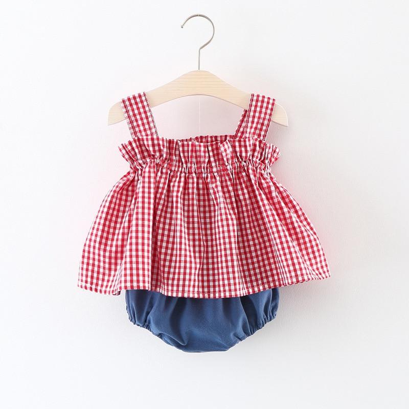 Vinnytido Bodysuits Short Sleeveless Cute Summer Clothes Plaid 2pcs Newborn Infant Girl Shorts And Tops Clothes Sets