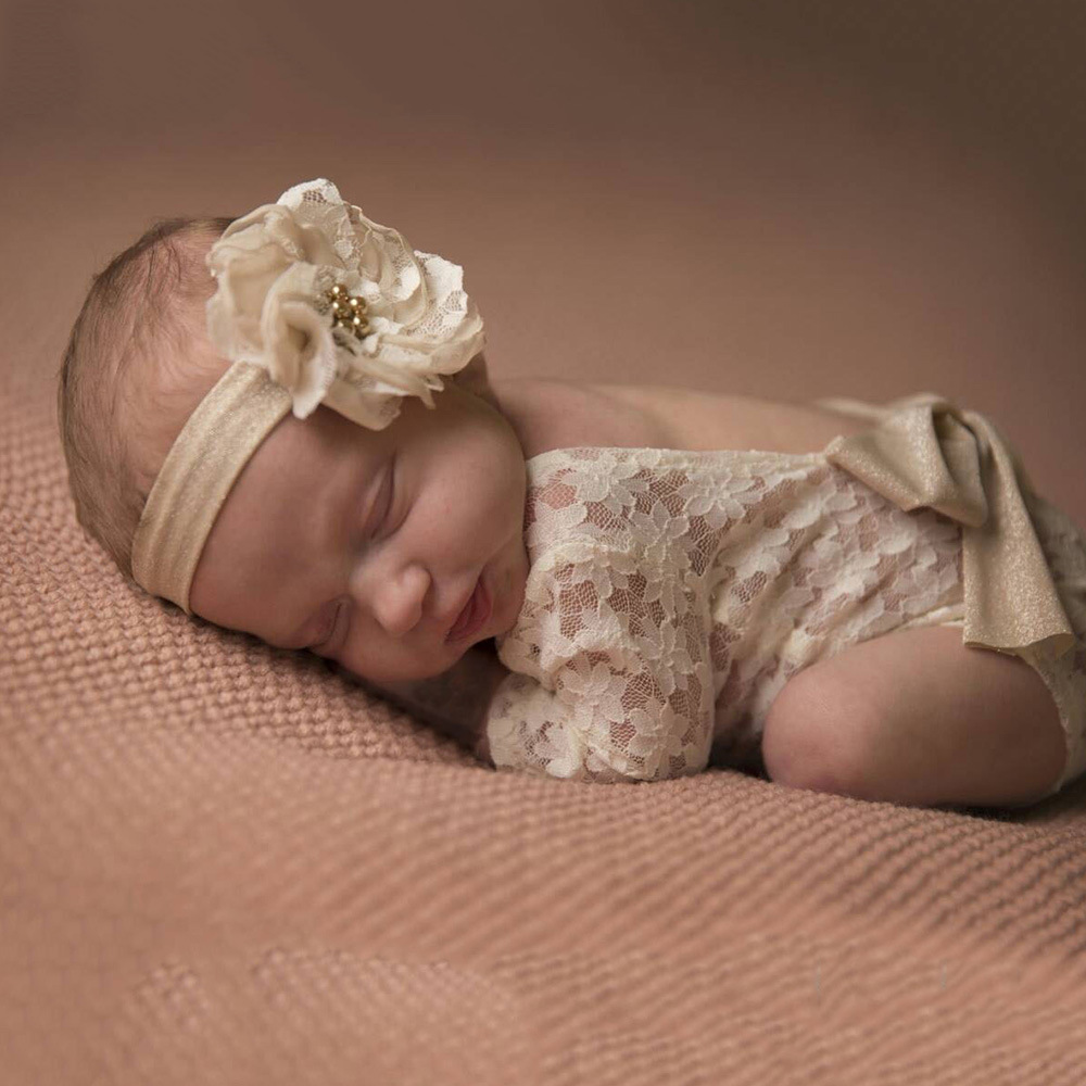 Photography Props Newborn Long Sleeve Lace   Romper   Backless Bowknot Baby Clothing For Newborns