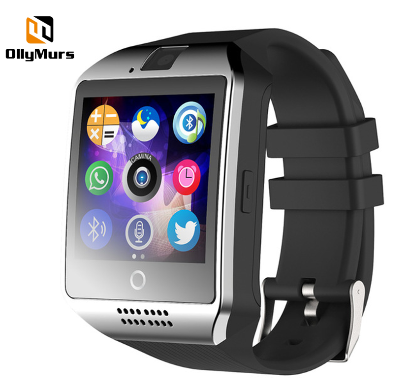 OllyMurs Q18 Smart Watch with Camera Bluetooth Smartwatch SIM Card phone call Wristwatch for ios Android Wearable Devices