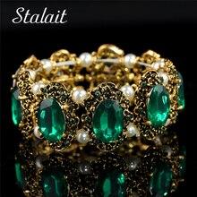 Venta al por mayor de la marca Hotsell Vintage Color oro verde piedra grande cristal Rhinestones pulsera brazalete joyería para la boda de las mujeres