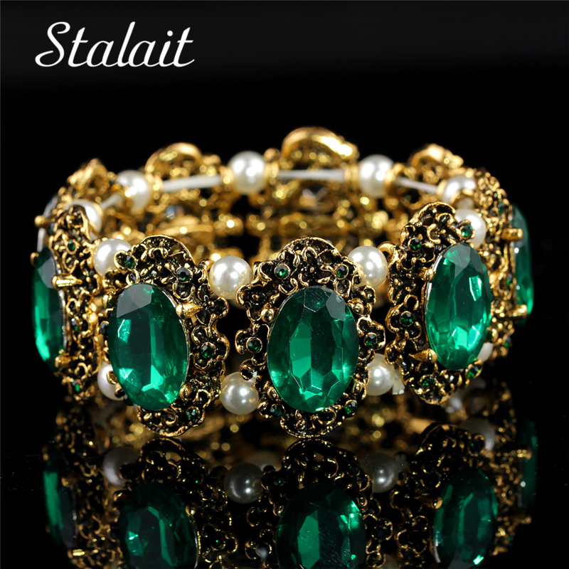 Wholesale Brand Hotsell Vintage Gold Color Green Big Stone