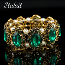 Free Shipping Brand Hotsell Vintage Gold Emerald Big Stone Crystal Rhinestones Bracelet Bangle Jewelry For Women Wedding  1105 бытовая техника brand new hotsell ht 501 ewz hoa 512