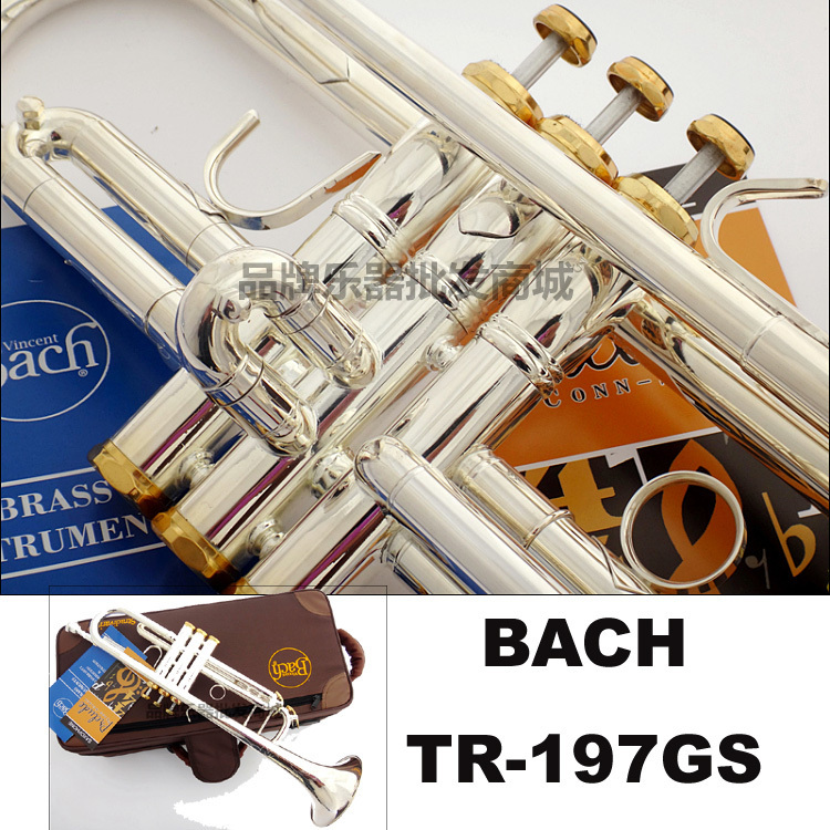 TR-197GS Bach Professional Trumpet Silver Plated Music Instruments Bb Trumpet Trumpeta Mouthpiece alto b golden trumpet silver band special instruments suitable for primary employs professional performance