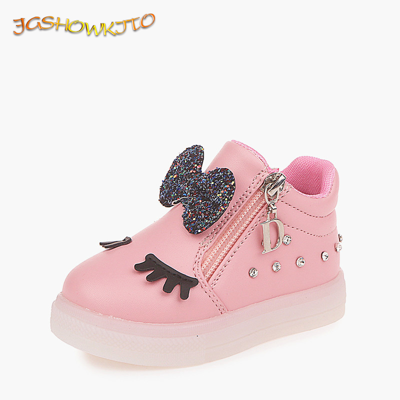 JGSHOWKITO 2020 New Fashion Kids Glowing Shoes For Toddlers Girls LED Lighted Luminous Sneakers Shiny Rhinestone Bow-knot 21-30