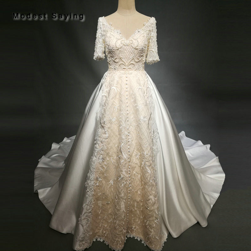 Luxury Ball Gown Pearls Embroidery Wedding Dresses 2018
