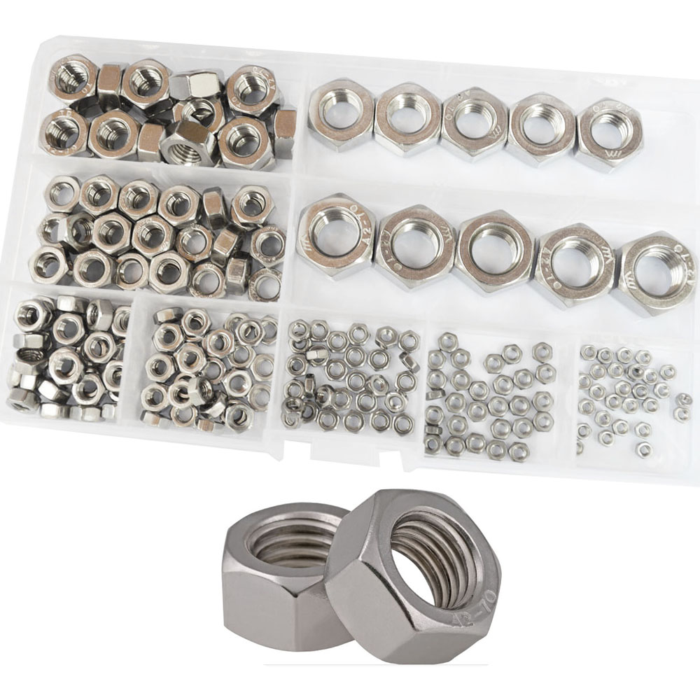 Hex Nuts Metric Coarse Thread nut Assortment Kit 304 Stainless Steel 210Pcs,M2 M2.5 M3 M4 M5 M6 M8 M10 M12 4pcs set hand tap hex shank hss screw spiral point thread metric plug drill bits m3 m4 m5 m6 hand tools