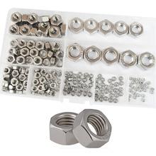 Hex Nuts Metric Coarse Thread nut Assortment Kit 304 Stainless Steel 210Pcs,M2 M2.5 M3 M4 M5 M6 M8 M10 M12 недорого