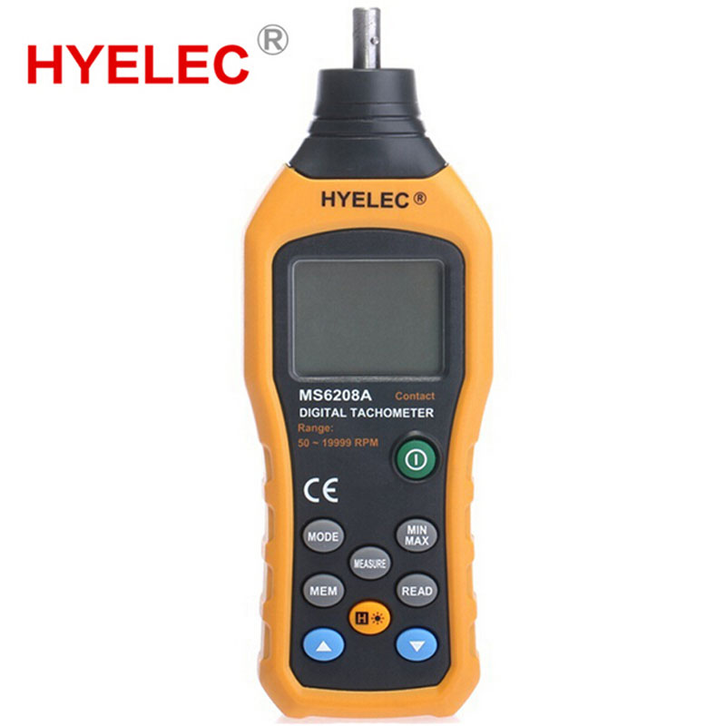 ФОТО HYELEC MS6208A Non-Contact Digital Tachometer High Performance 50-19999RPM max rpm Speed Meter revolution meter
