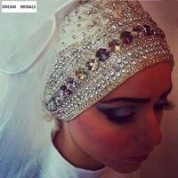 Heavy Beaded Muslim Long Hijab Ivory/White Wedding Bridal Veil Wedding Accessories Veils With Crystal Velo Veu De Noiva Boda