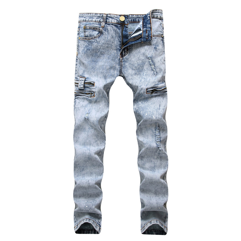 Retro colors men jeans homme 2020 new europe funky hole distressed jeans skinny punk slim fit straight leg rock snowflake jeans
