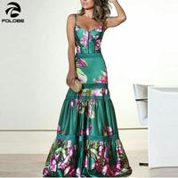 FOLOBE Plus Size 2019 Women Summer Vinatge Elegant Party Night Dresses Sexy Casual Maxi Print Fashion Dress