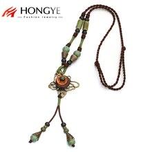Hot Vintage Jewelry Unique Ethnic Long Rope Necklace Pendant Ceramic Bronze Butterfly Necklace Boho Femme Collier