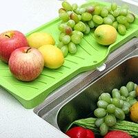 Acessórios de cozinha faca de Frutas Dobrar Ao Longo do Filtro Multiuso Bandeja de Legumes Escorredor Pia Roll Up Prato Escorredor