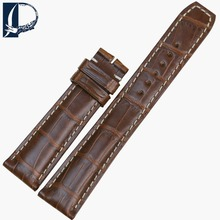 Pesno Charming Yellowish-Brown Alligator Leather 21x18mm Watch Band Strap for Men's Watch Suitable for Baume & Mercier