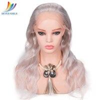 Glueless белого золота 60 # Цвет Бразильский объемная волна Синтетические волосы на кружеве человеческих волос 130% 150% 180% плотность девственной во