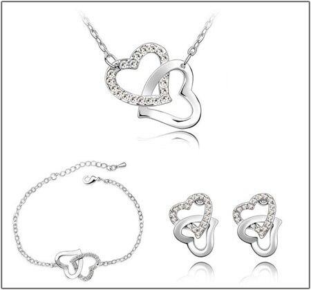 dubbele hart Tsjechische AAAA + steentjes mode ketting oorbellen - Mode-sieraden - Foto 5