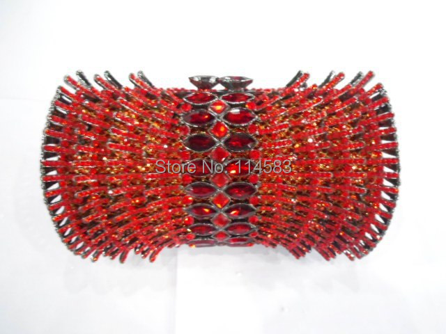 ФОТО 8261R red Crystal Wedding Bridal Party Night hollow Metal Evening purse clutch bag handbag