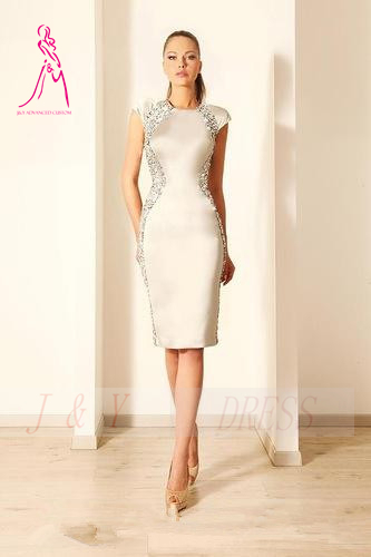3b9b0dfe7c2 J Y 2014 Sexy Ivory Cocktail Dresses Knee Length Crystals Mermaid Crew Cap  Sleeve Evening Dress Formal Women s Party Gowns-in Cocktail Dresses from  Weddings ...
