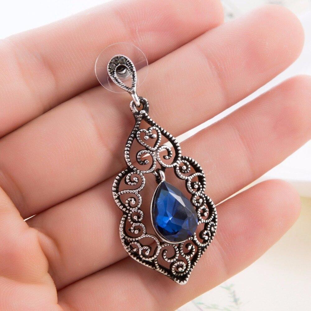 Antique Silver Plated Royal Blue Crystal Vintage Filigree Drop ...