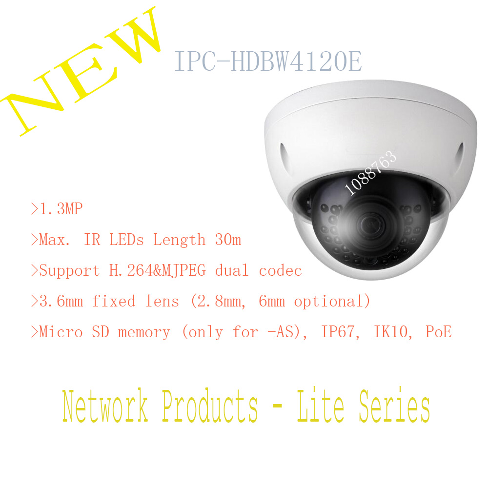 Free Shipping DAHUA 1 3MP HD Network Vandalproof IR Mini Dome Camera with Fixed Lens IP67