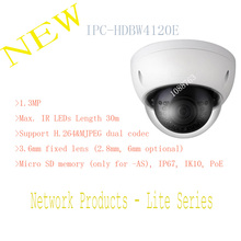 Free Shipping DAHUA 1.3MP HD Network Vandalproof IR Mini Dome Camera with Fixed Lens IP67 Without Logo IPC-HDBW4120E