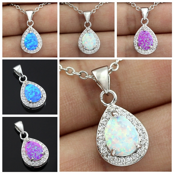HAIMIS New Arrival Best Design Drop Blue Pink White Fire Fire Opal Stone آویز زنان + حمل رایگان جعبه هدیه رایگان