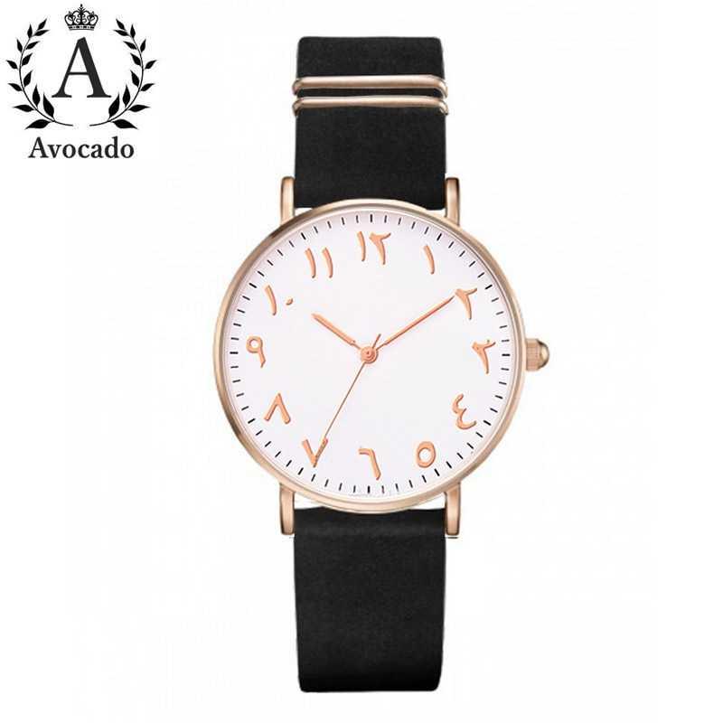 אבוקדו אופנה ערבית מספרי נשים שעון גבירותיי קוורץ שעון יוקרה מותג עור שעוני יד שמלת שעון Relogio Feminino