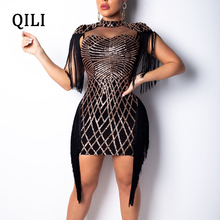 QILI 2019 New Sequined Tassel Dress Red Black Khaki Mesh Patchwork Mini Dresses Evening Party Club Sexy Elegant Lady Wear