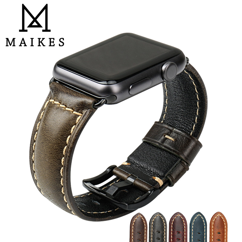MAIKES Vintage Leather Watchband For Apple Watch Bands 42mm 38mm iWatch Green Oil Wax Calf Watch Bracelet For Apple Watch Strap 38mm 42mm apple watchband special design handmade leather watch strap 4 color available for iwatch apple watch free shiping