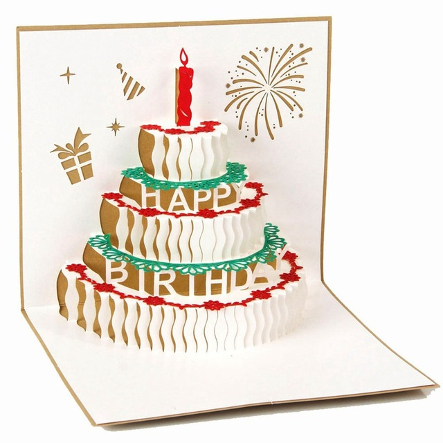 2016 Best Birthday Cake 3d Paper Laser Cut Pop Up Handmade Post
