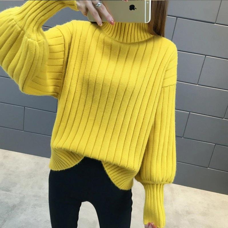 Sweater women 2019 fashion pull femme loose thicken warm winter women coat lantern sleeve sleeve jumper women sweaters pullover