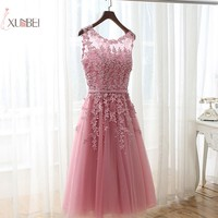 2019 Luxury Red Pink Burgundy Tulle Lace Short Dress Prom Applique Beaded Prom Gown Gala Dress Vestido de festa