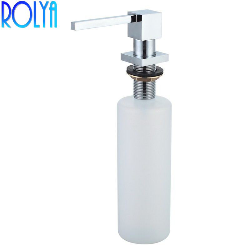 Wholesale Promotion High Quality Square Style Chrome Liquid Lotion Pump Soap Dispensers Solid Brass Kitchen Sink