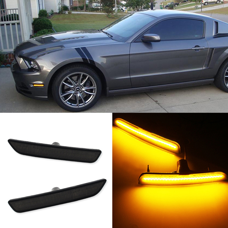 Front bumper Smoked Lens Side Marker Reflector Lamps White Yellow Or Red LED Lights For Mustang
