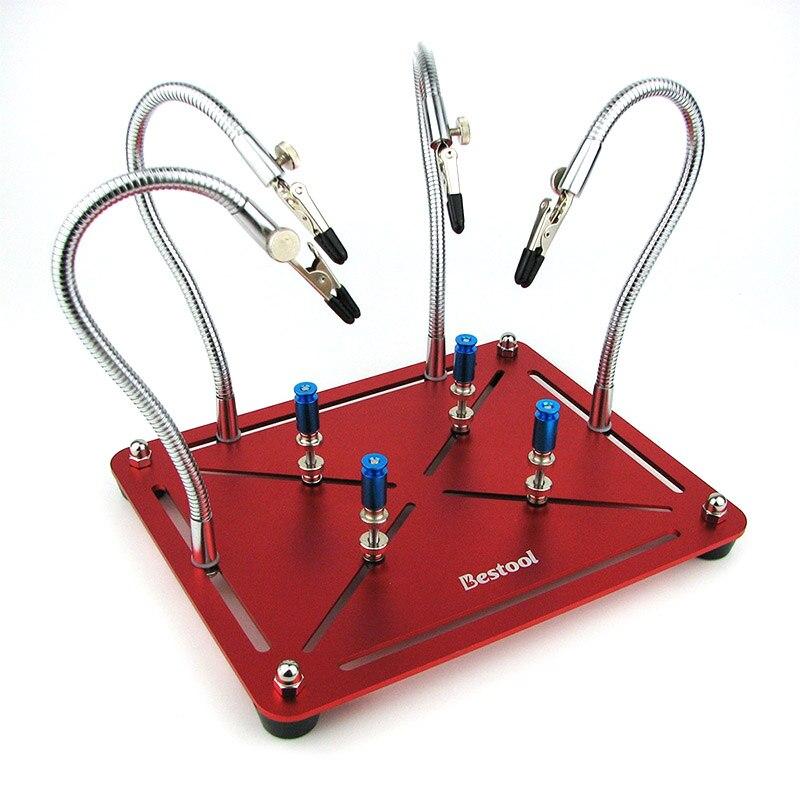 Mãos de ajuda magnética trabalho de solda terceira mão ferramenta de reparo de solda pcb placa de circuito suporte com 4pc braços flexíveis