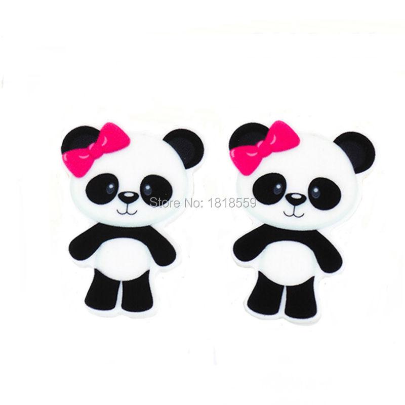 Decoden 20Pcs Hot Pink Bow Cartoon Panda Flatback Planar Resin Cabochons DIY Kids Jewelry Craft