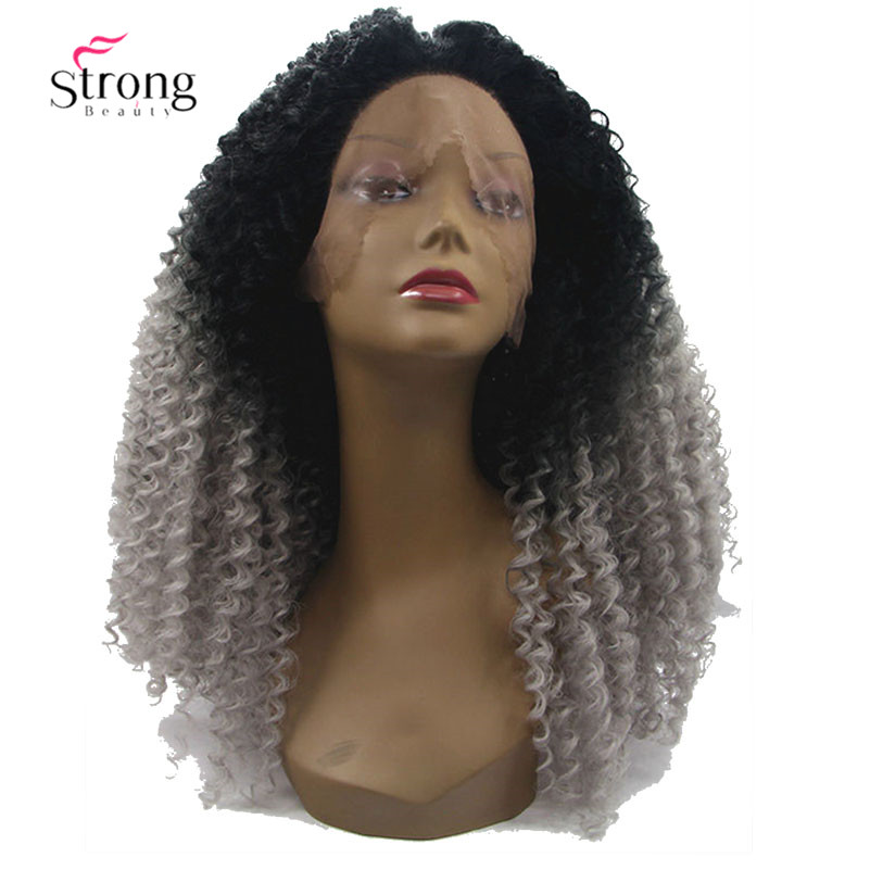 "Ombre Gray 2 Tones Synthetic Lace Front Wig 22"" Long Kinky Curly Afro Wig for Women"