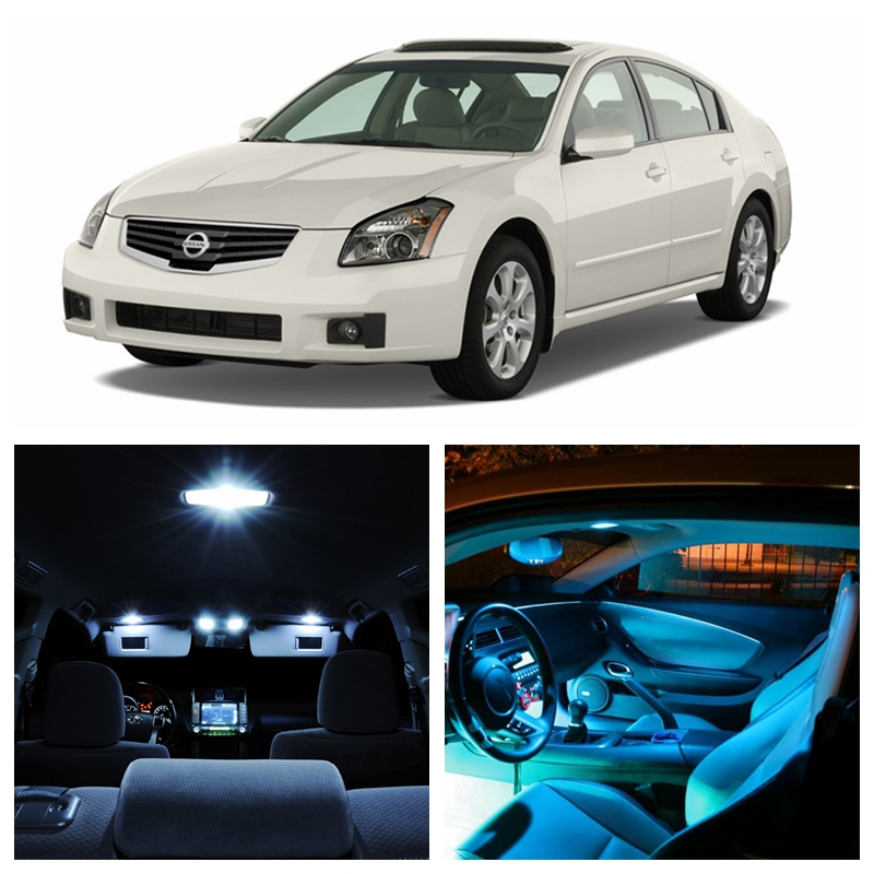 13pcs White Ice Blue LED Light Bulbs For 2004-2008 Nissan Maxima Interior Package Kit Map Dome License Plate Lamp Nissan-EF-09 13pcs super white crystal blue pink led lights lamp interior dome door step courtesy vanity package kit for pilot 2006 2008 14