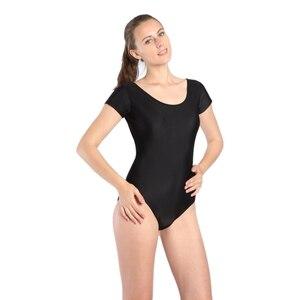 Image 3 - Women Black Red Green Whit Leotard Short Sleeves Ballet Dancewear Lycra Spandex Leotards Bodysuit Gymnastics Costume Unitard