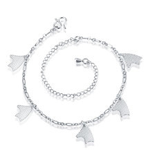 lureme Elegant Silver Plated Five Sea Wave Shape Pendant Anklets for Women Pulseras Tobilleras Mujer (06002996)