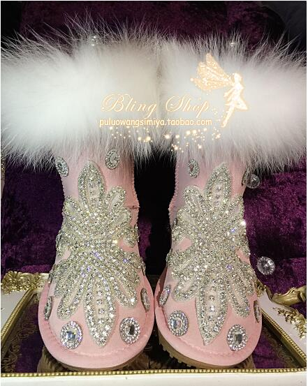 Autumn and winter pink fairy fox fur leather rhinestone plus velvet flat bottom increase in the middle of the snow boots boots Autumn and winter pink fairy fox fur leather rhinestone plus velvet flat bottom increase in the middle of the snow boots boots